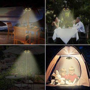 Warm White 3 Camping Tents Patio Umbrellas Light